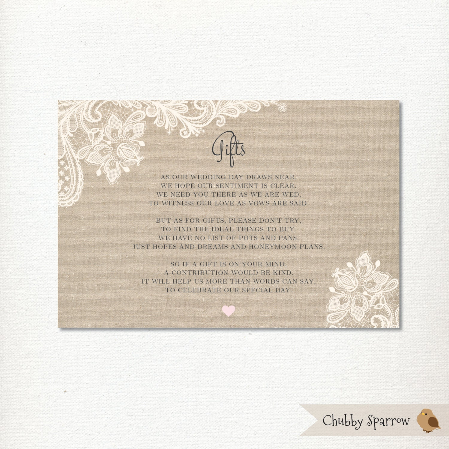 Wedding Gift Information Card : Wedding Gifts List card information Honeymoon fund Lace &