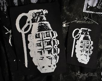 Grenade Crust Punk/Cyber Punk Goth Patch (Black & white ver.)