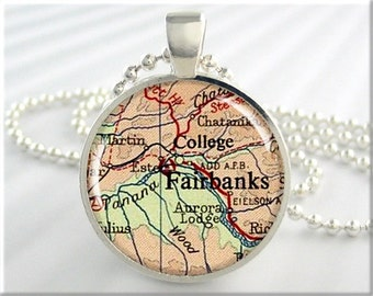 Fairbanks Map Necklace, Resin Charm, Fairbanks Alaska Map Jewelry, Round Silver, Map Charm, Gift Under 20, Alaska Gift (728RS)