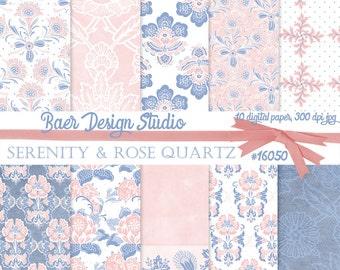 50% off:Digital Paper Floral, Rose Quartz digital paper, Wedding Scrapbook, Pink and Blue Digital Paper, Junk Journal Paper