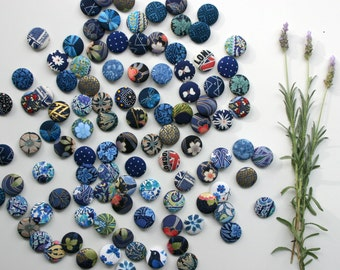Fabric Covered Buttons-Hair Ties-Magnets - Set of 5 - 28mm - 1 1/8 inch - Blue Mix