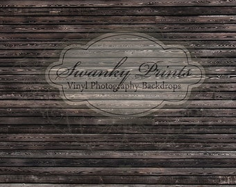 LARGE 16ft x 10ft Vinyl Photography Backdrop / Stained Black Wood