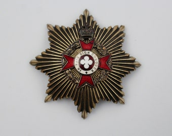 Vintage Brass Enamel Military Badge - Royal Army Chaplain Badge In This Sign Conquer - Maltese Cross