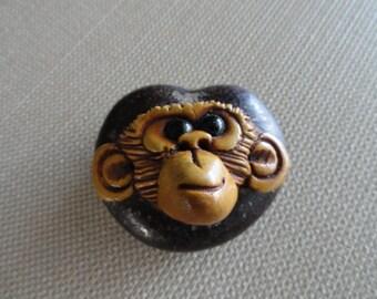 C055)  Vintage Handcarved Monkey Face on a Earpod