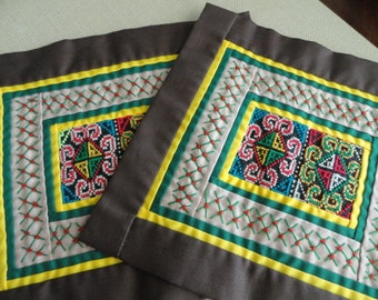 C065)  Vintage Hand Sewn Embroidered Cross Stitch Textile Squares