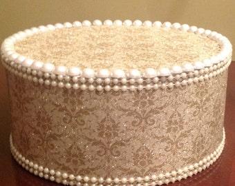 Gold Demask Pearl Cake Pop Stand / Candy Buffet Centerpiece / Cupcake Stand
