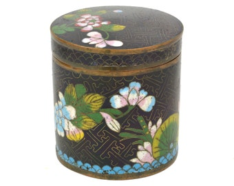 Vintage Cloisonne Cigarette Box Holder Case Canister Container // 1930's Chinese Tobacciana // Black Enamel with Flowers, Blue Interior