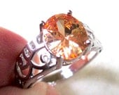 Sterling Silver Morganite Ring, Size 7.5