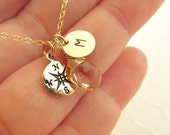 Compass necklace GOLD FILL gemstone initial jewelry monogram necklace travelers jewelry graduation gift compass jewelry gold compass rose