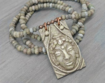 Buddha Face Necklace - Meditation Jewelry - Sculpted Polymer Clay Earthy Bohemian Zen Spiritual Necklace - Yoga Jewelry