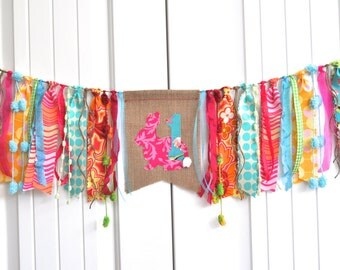 Girls Spring bunny fabric rag highchair banner, Bright Amy Butler fabrics, first birthday decor, rag garland, cake smash photo prop