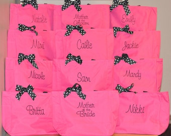 Bridesmaid Totes, Set of 12 Bridesmaid Totes, Monogrammed Bridesmaid Totes, Bridesmaid Tote Bag, Personalized Tote, Bridal Party Gift