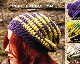 Striped Slouch Hat Oversized Adult Beanie Big Chunky Crochet Pompom Hat