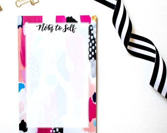 """Hot Pink Abstract """"Notes to Self"""" Notepad Stationery To Do List Notepad Teacher Notepad Stationary Gift For Her Checklist Notepad"""