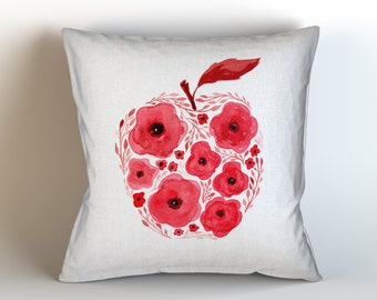 Red Apple, Original Watercolor Art, Throw Pillow Case w/optional insert, Home Decor, Red, White, Unique Gift, Teacher Gift, Red Apple