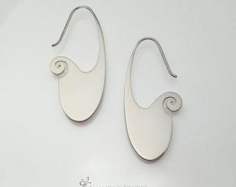 2D Sterling Silver Earrings - Swirl