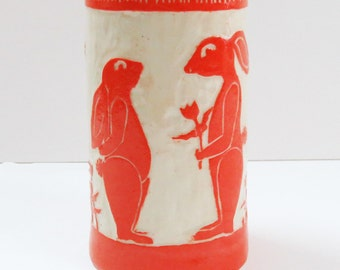 In STOCK! Hand Built BUNNY TUMBLER / Vase Sgraffito - Sweetheart Rabbits  - Personalize Color - Mexican Folk Art Inspired