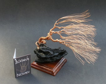 Windswept Wire Sculpture Bonsai Gem Tree on Natural Lanzarote Lava Stone and Brazilian Wood Base