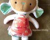 """Sample Sale Coral Rose Lamb Plush. 17"""" tall stuffed doll. Lamb Doll"""