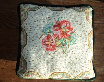 Vintage Petit Point Needlepoint Pillow with a well done salmon and pink rose floral design with intricate and detail design and border