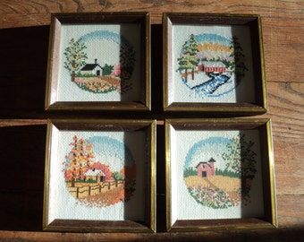 Retro Folk Art Style Cross Stitched Samplers of The Four Seasons  in Shadow Box Style Frames in Very Good Condition ready for display