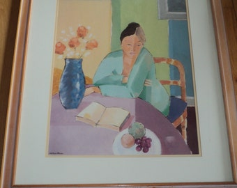 """Vintage Portrait Print of a painting by Artist Mortimer Robinson titled """"A New Chapter"""" professionally matted and framed in Great Condition"""