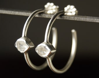 Herkimer Diamond Hoop Earrings in Brushed Sterling Silver