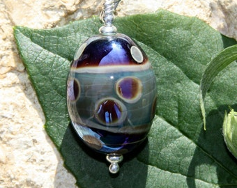 Purple-urple Egg, lampwork glass bead pendant SRA