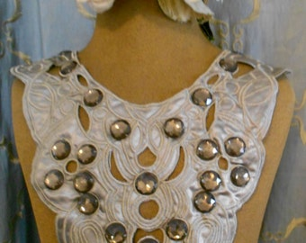 Taupe Satin Beaded Applique