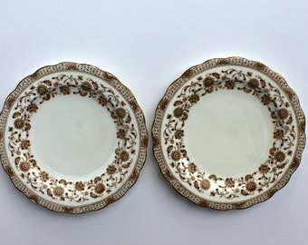antique brown transferware plates Brownfield & Son 1871-1873, English porcelain, English transferware
