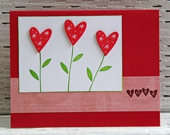 Heart Flowers Greeting Card, Handmade Love Note, Heart Shaped Flowers for Valentine, Notecard for Wedding Anniversary, Mother's Day