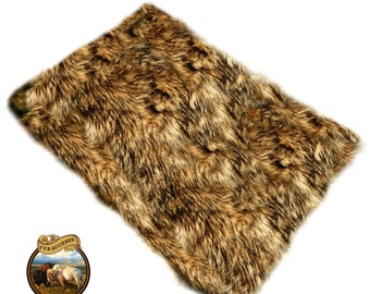 The Wild  Faux Fur Wolf hide Toss Rug / Bear skin fur Rug / Life size 5ft X 6ft / Deer Hide Pelt / Realistic Taxidermy Look /  New