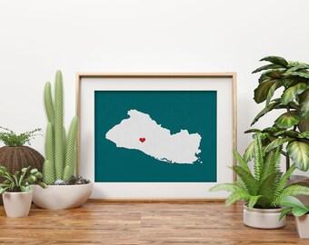 El Salvador Republic Map Custom Personalized Heart Print Hometown Wall Art Gift Souvenir Caribbean