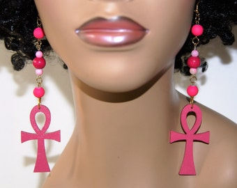 Wood Dangle Earrings- Pink Ankh
