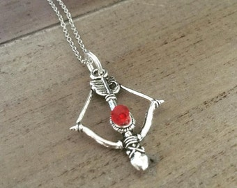 Bow And Arrow Necklace Red Bead Stainless Steel Chain