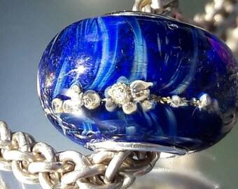 Royal bubbles - Big hole bead - European charm bead- Silver core