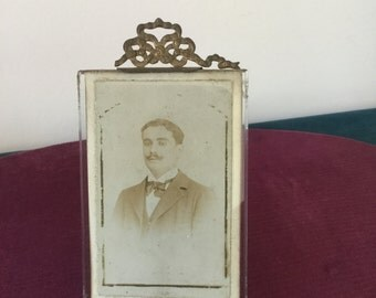 French vintage small frame In brass antique Golden frame with knot, 19th century