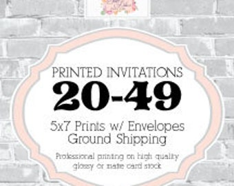 Printed Invitations and Envelopes  - 20-49qty