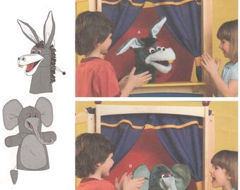 Simplicity 1789 2000s Sewing Pattern Child Kid Toy Pretend Theater Puppet Donkey Elephant Make Believe