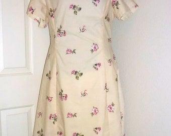 Sand and pink dress. cowl neckline dress, bust 42 dress, cotton summer dress, floral print dress, Coni Crawford dress, modest dress