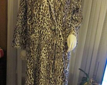 1970's Ladies Fun Fur ANIMAL Print Long COAT--No Label