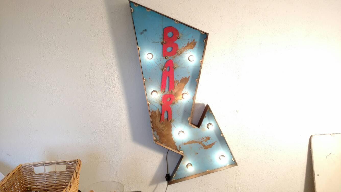 BAR sign marquee Arrow bar decor light up sign custom
