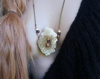 Quartz cluster druzy gypsy necklace   wrapped Quartz cluster, raw stone necklace, rough stone necklace, boho Quartz cluster, yellow stone