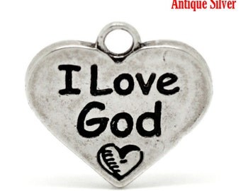 """5 I Love God Charms - Antique Silver - Carved Message """"I Love God"""" - 17x17mm - Ships IMMEDIATELY from California - SC1298"""