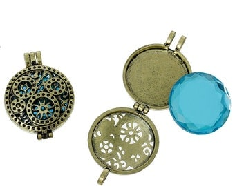 1 Gear Locket - Diffuser - Antique Bronze With Blue Cabochon - Holds 30mm - 44x33mm - Ships IMMEDIATELY  from California - BC805