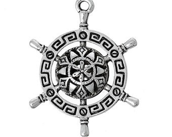 3 Silver Rudder Charms - Antique Silver - Aztec Design Pattern - 28x22mm - Ships IMMEDIATELY from California - SC1265