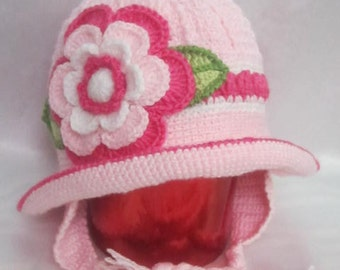 Knit Winter Girls Hat with brim, Toddler Girls Panama, Clochet baby hat, Pink Crochet Baby Earflaps, Flower Ear Flap Hat, Girls Winter Hats