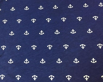 Cotton Novelty Nautical Knit - Anchors