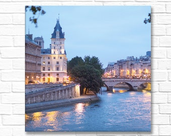Paris Night Photograph, Île de la Cité with Lights, Large Wall Art, Gallery Wrapped Canvas, French Decor, Travel Photograph