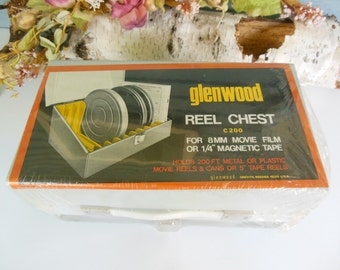 Vintage reel to reel movie chest for 8mm movie film glenwood  brand new still in plastic